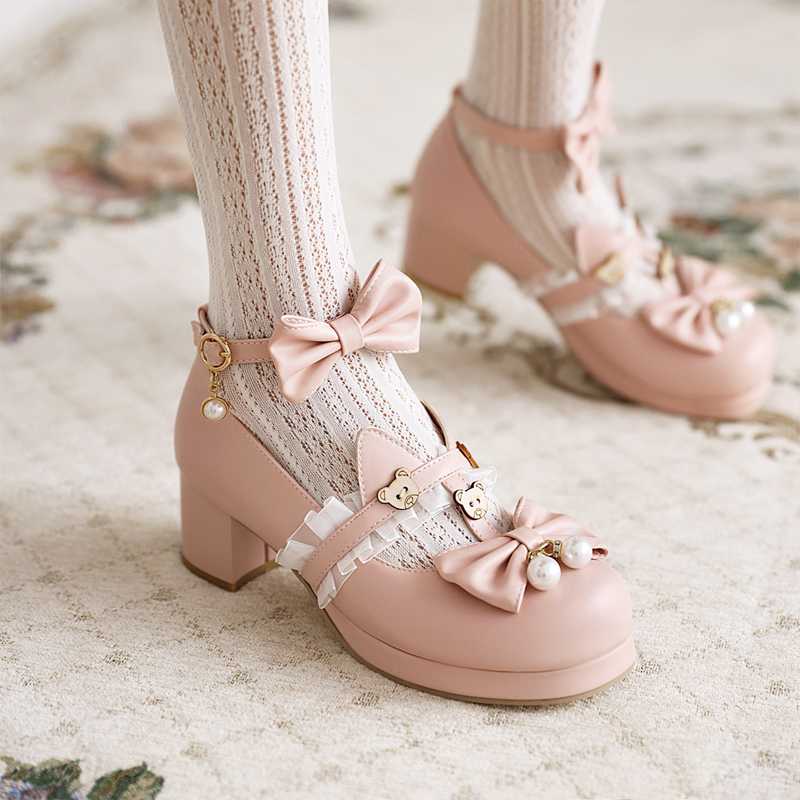 2021 spring new Japanese Lo Lolita bear thick heel shoes middle heel womens shoes versatile sweet Department low heel students