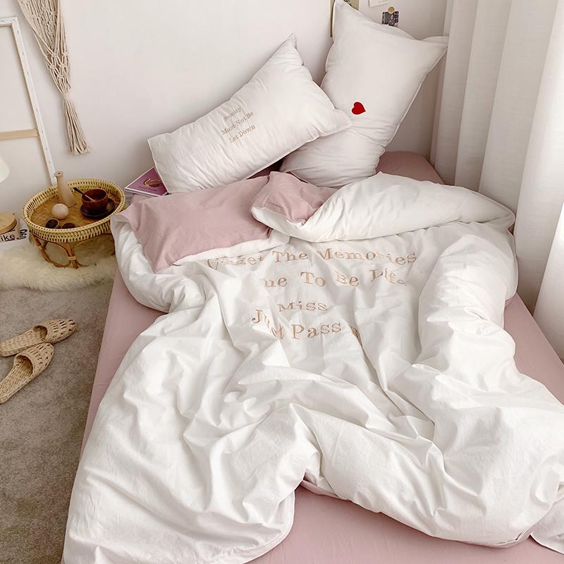 北欧水洗棉四件套ins全棉被套刺绣纯棉床单床笠款4件套清爽不起球