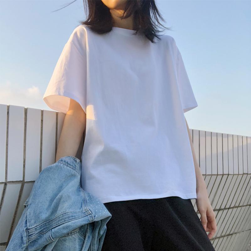 春夏季港风短袖t恤女素色基础款韩版宽松ins潮纯棉白色半袖上衣服