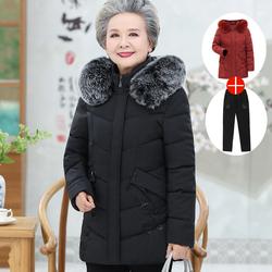 中老年冬装羽绒棉服女老人衣服妈妈加厚棉衣老太太棉袄奶奶装外套