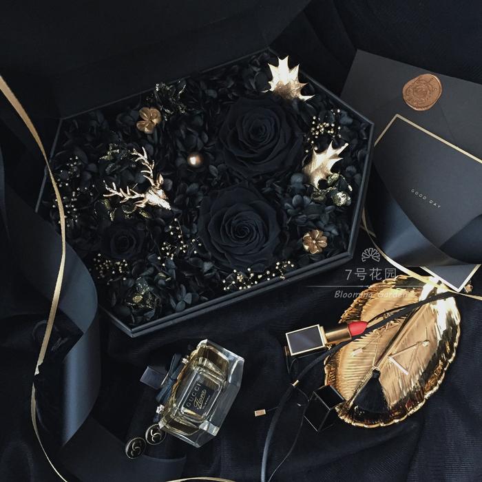 10月16日最新优惠进口永生花礼盒可放口红黑玫瑰花盒送男友生七夕情人节礼物送女友
