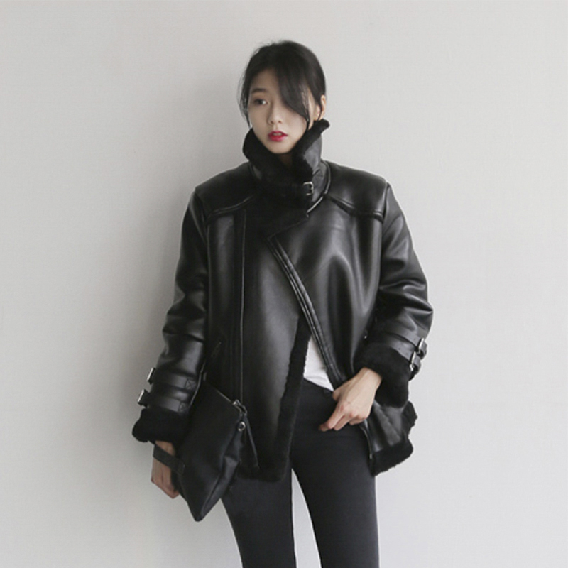 Motorcycle clothes womens fashion winter Pu fur one-piece lamb wool coat womens Plush thickened jacket cotton clothes ins Hong Kong Style