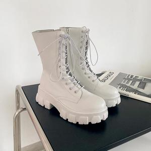 小小苏女鞋黑色中筒靴圆头加绒绑带ins工装靴厚底侧拉链军靴A32F
