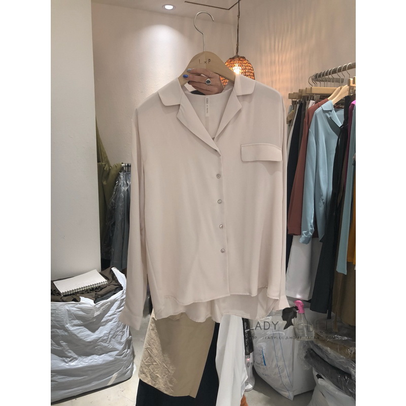韩国代购LOBO X PASTEL正品开领宽松纯色雪纺衬衫女设计感小众INS