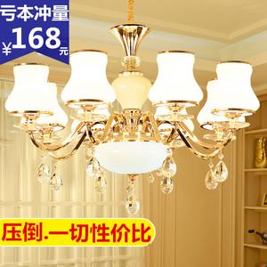 歐式臥室客廳水晶吊燈簡約現代餐廳8頭蠟燭燈具簡歐金色鐵藝燈飾