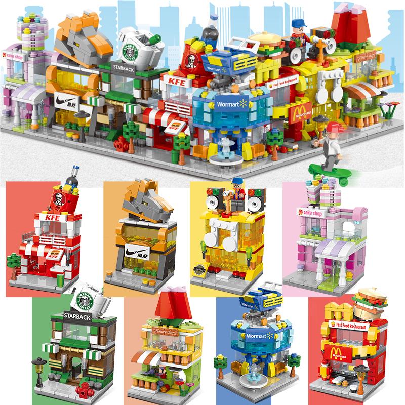 迷你商店城市街景建筑模型8 6积木
