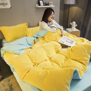 纯色珊瑚绒四件套1.8米床法兰绒床单加厚保暖法莱绒被套1.5m床品价格