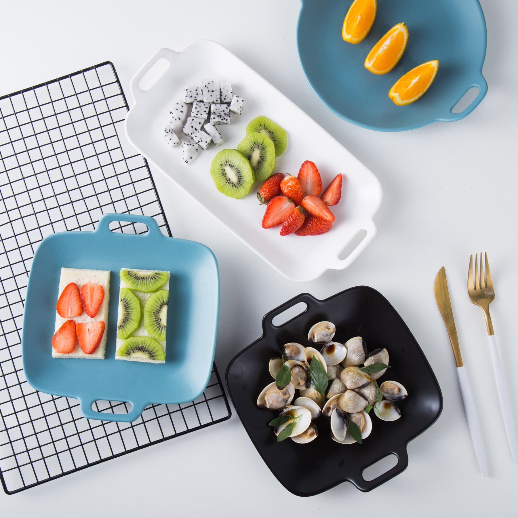 (用35.28元券)创意北欧不规则烤盘家用陶瓷盘子