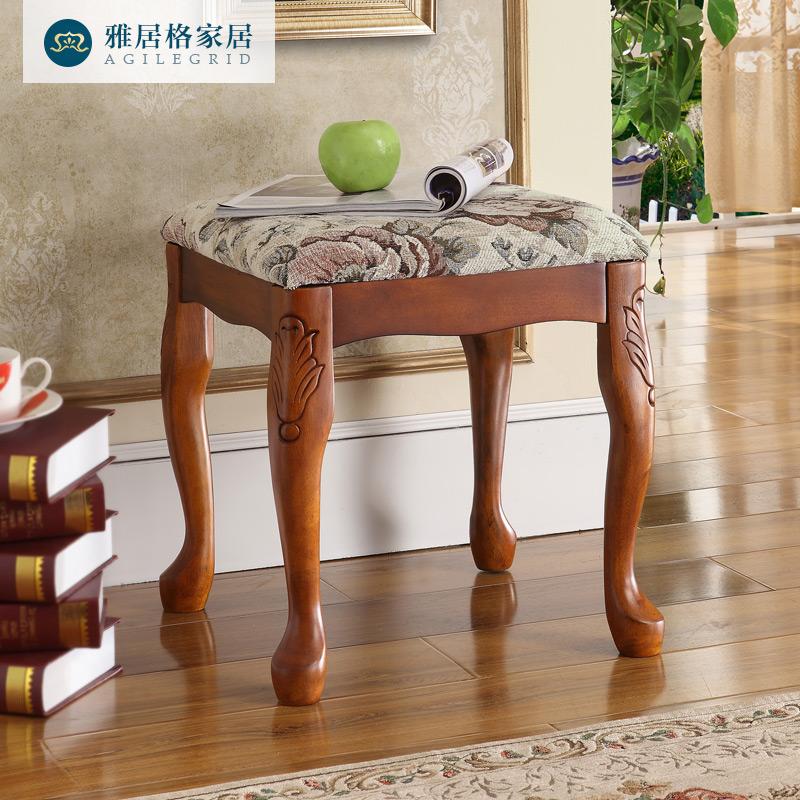 Элегантный дом сетка американский дерево соус табуретка комод стул современный простой континентальный составить табуретка небольшой стул J7312