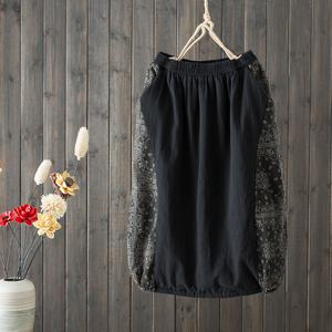 曼裳格新款夹棉加厚复古高腰棉麻半身裙女拼色宽松显瘦中长裙女