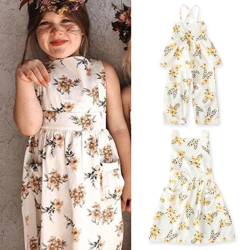 Girls European and American summer sleeveless off shoulder dress flower one-piece Khaki bandage trend childrens wear