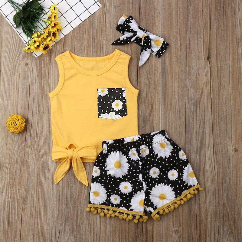 女儿童欧美夏季款童套装背心+花朵图案短裤+头带三件套童装ins