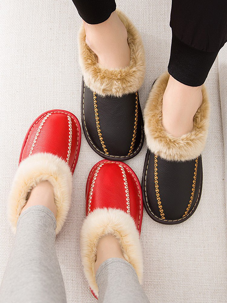 男女包跟真皮棉拖鞋冬季情侣防滑居家室内地板保暖家居家用毛棉鞋