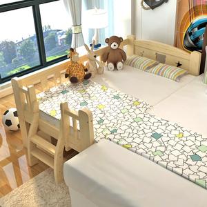 实木儿童床男孩单人床 小孩床带护栏加宽床拼接床女孩公主床小床