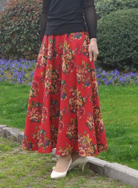 2021春季简约穿搭新款女装亚麻棉松紧腰半身长裙大摆复古碎花裙子