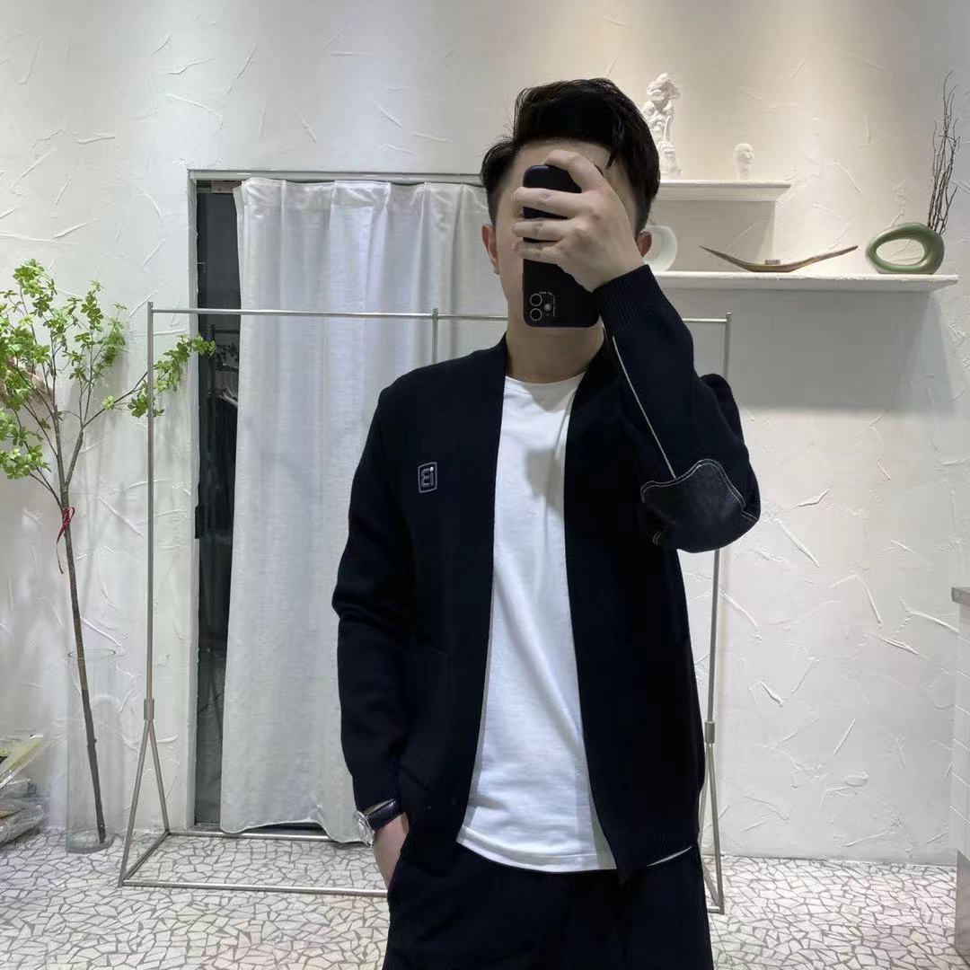 2021秋季青年男士休闲拼接新款刺绣韩版修身潮牌外套B字针织开衫
