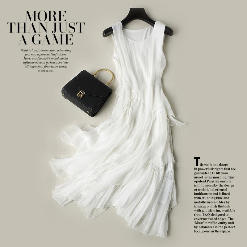 白色长裙夏仙女不规则桑蚕丝连衣裙波西米亚海边度假裙真丝沙滩裙
