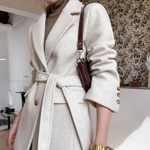 2020冬季新款女装小个子加厚毛呢西装大衣收腰气质系带毛呢外套女