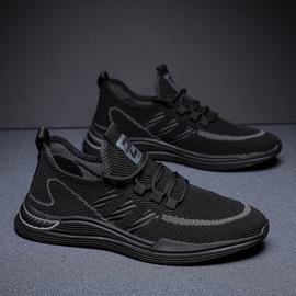 黑色秋天编织跑步鞋男子男鞋2020新款秋季潮鞋透气飞只飞线运动鞋图片