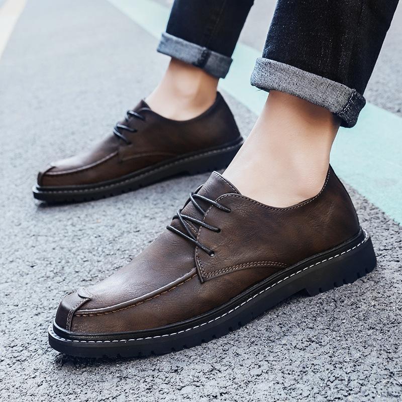 搭配休闲西裤牛仔裤的鞋男土纯手上上线小皮鞋青年工作上班休闲鞋