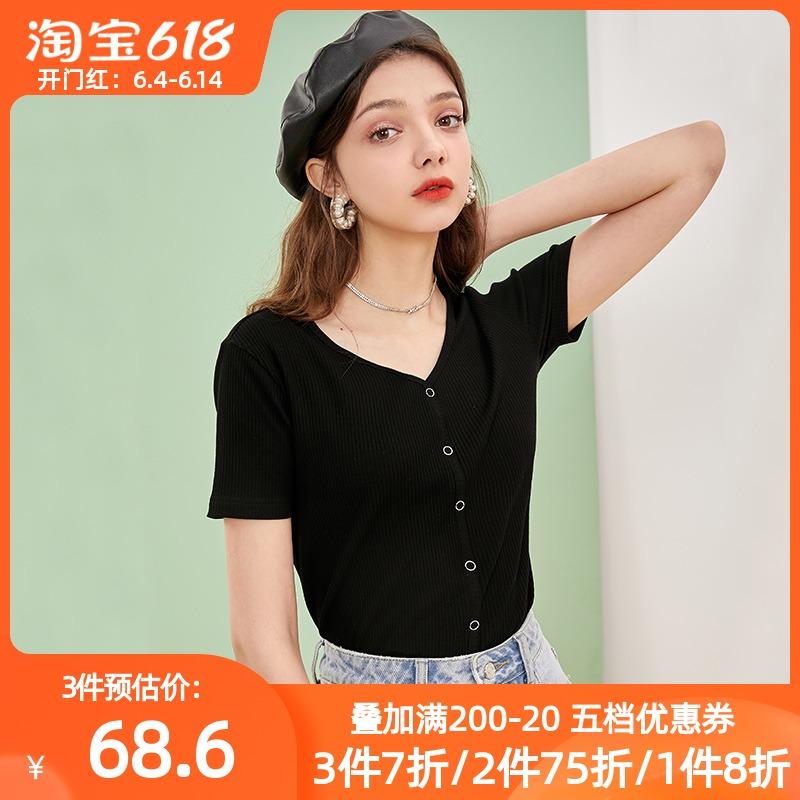 三彩2021夏季新款V领短款打底衫弹力修身短袖套头黑色t恤上衣女潮