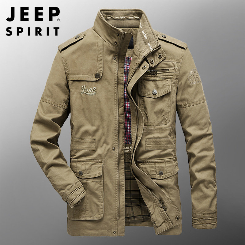 Jeep spirit hooded jacket mens sports outdoor windbreaker youth coat spring and autumn casual top 8877