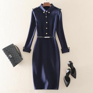高端气质通勤职业正装 显瘦长袖 新款 2021春季 包臀连衣裙子 OL女装