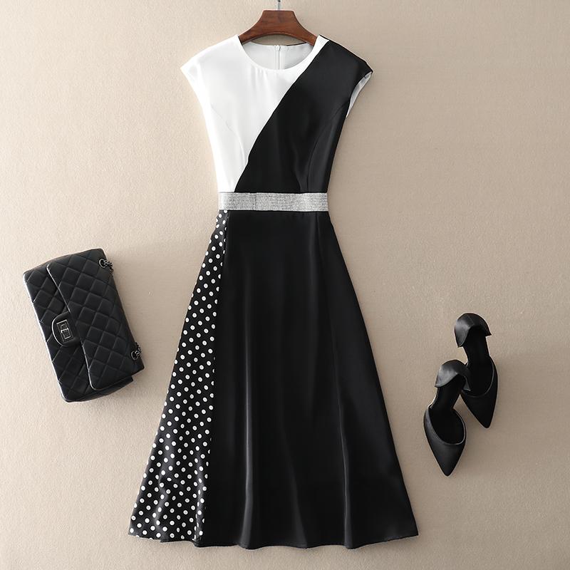 欧美大牌显瘦短袖黑白拼接礼服连衣裙子2021春夏新款高端气质女装