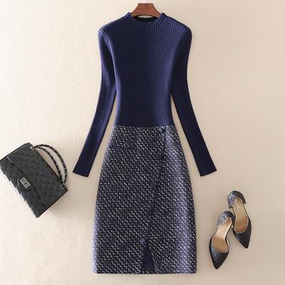 秋冬季新款高端大牌气质女装中长款修身拼接内搭打底针织连衣裙子