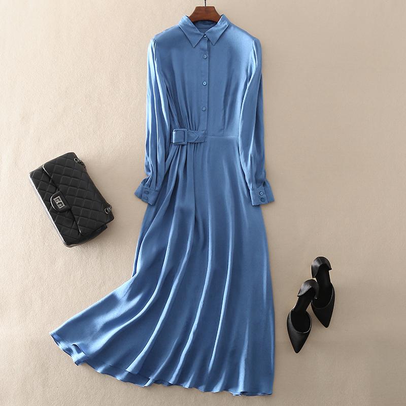 2021春季新款高端气质女装欧美大牌中长款修身显瘦丝麻连衣裙子
