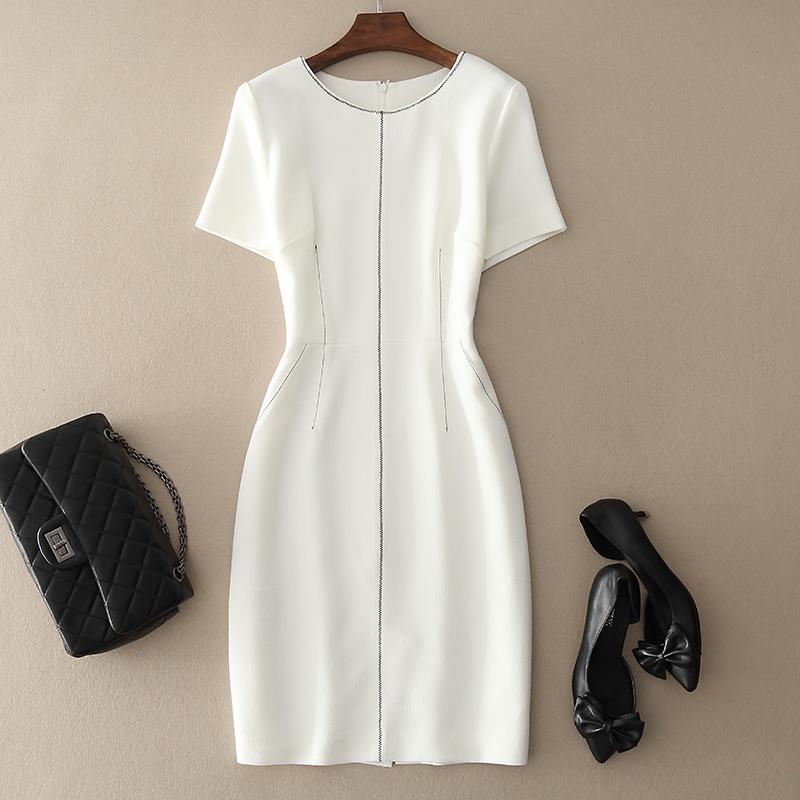2018夏季新款气质职业通勤OL女装白色修身显瘦包臀裙短袖连衣裙子