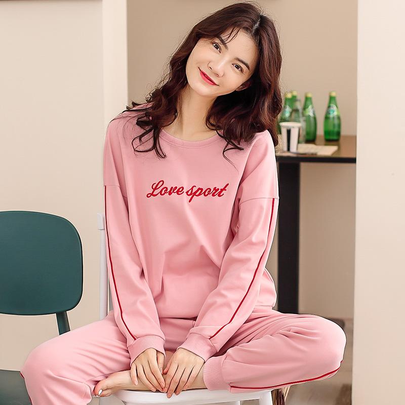 Autumn pajamas womens long sleeve cotton Korean students lovely sports wear pure cotton home suit autumn winter