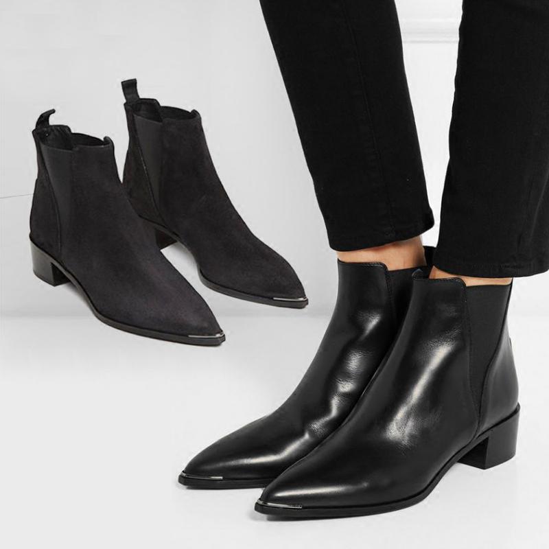 欧美尖头真皮马丁靴女头层牛皮英伦切尔西短靴子低跟平底踝靴女潮