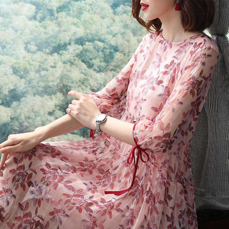 2018夏新款欧美外贸原单女装印花七分袖A字中长款真丝碎花连衣裙