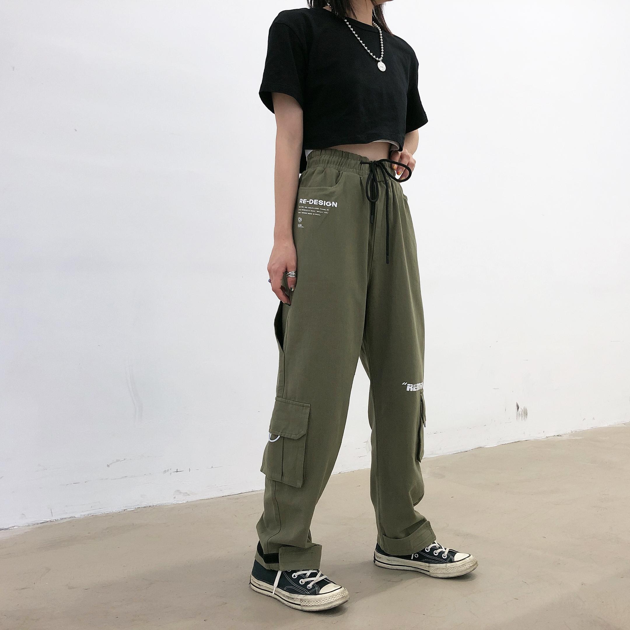 chic直筒束脚工装裤女bf情侣裤子正品保证
