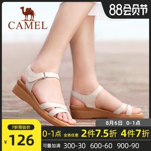 骆驼女鞋健足乐2020夏季软底真皮凉鞋女平底坡跟百搭厚底休闲鞋子