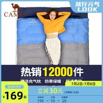 骆驼户外双人睡袋大人露营防寒保暖便携式室内旅行冬季加厚睡袋