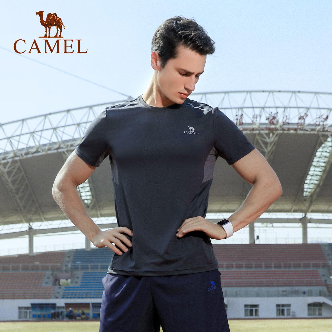 骆驼户外运动T恤 男款舒适透气柔弹速干排汗跑步健身干爽圆领上衣