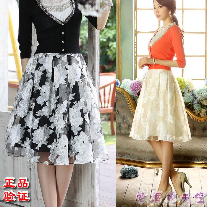 New imported genuine womens original skirt, summer puffy yarn, pleated princess skirt, printed horn skirt