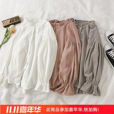 时尚木耳边衬衫女春秋长袖宽松百搭外套外穿韩版学生秋冬洋气衬衣