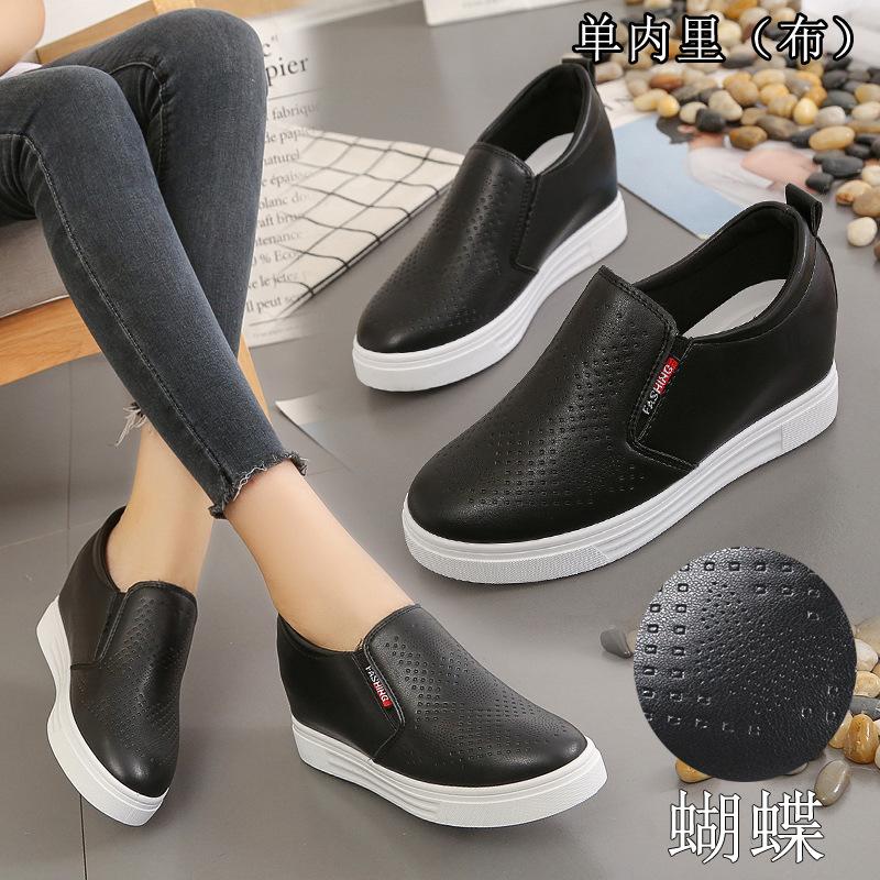 211春夏季中年妇女透气休闲皮鞋厚底内增高女鞋白底黑面透气乐福