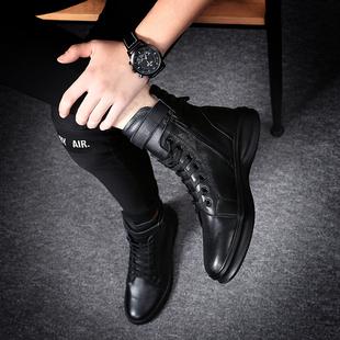 男鞋 2021年新款 潮中帮马丁靴男靴子高帮英伦皮靴透气皮靴男雪地靴