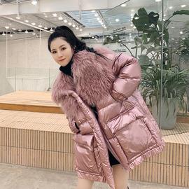M家皮草 减龄收腰 羽绒服女中长款拼接滩羊毛领2018新款冬显瘦