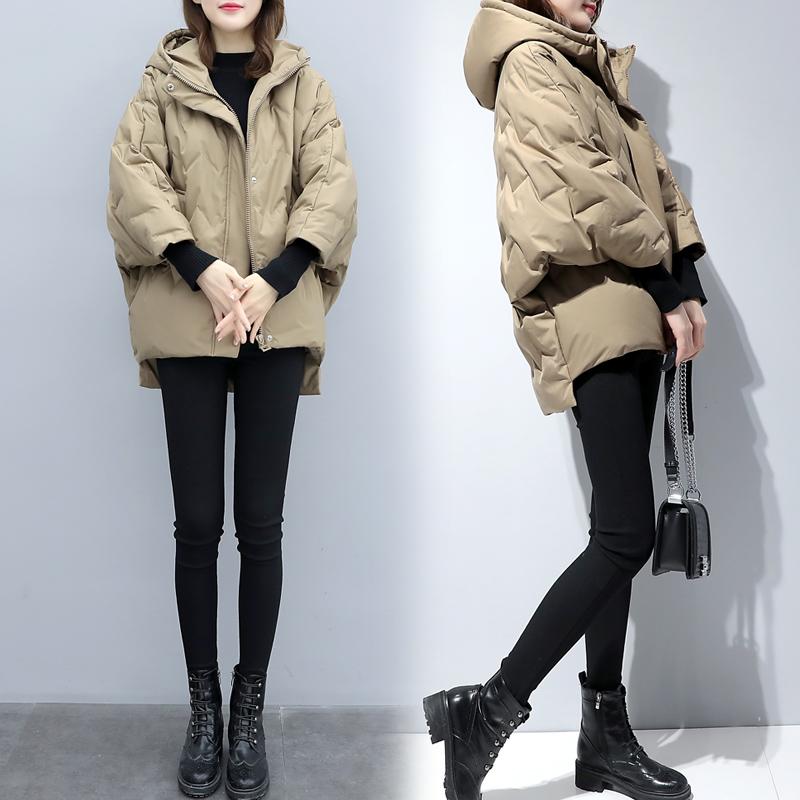 2020新款女装蝙蝠袖轻薄短款羽绒服韩版宽松加厚小个子茧型外套冬