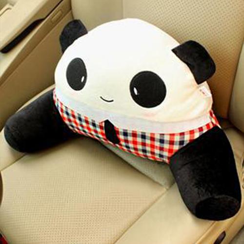 布迪 熊貓先生汽車用頭枕抱枕護頸枕卡通可愛腰靠墊腰枕