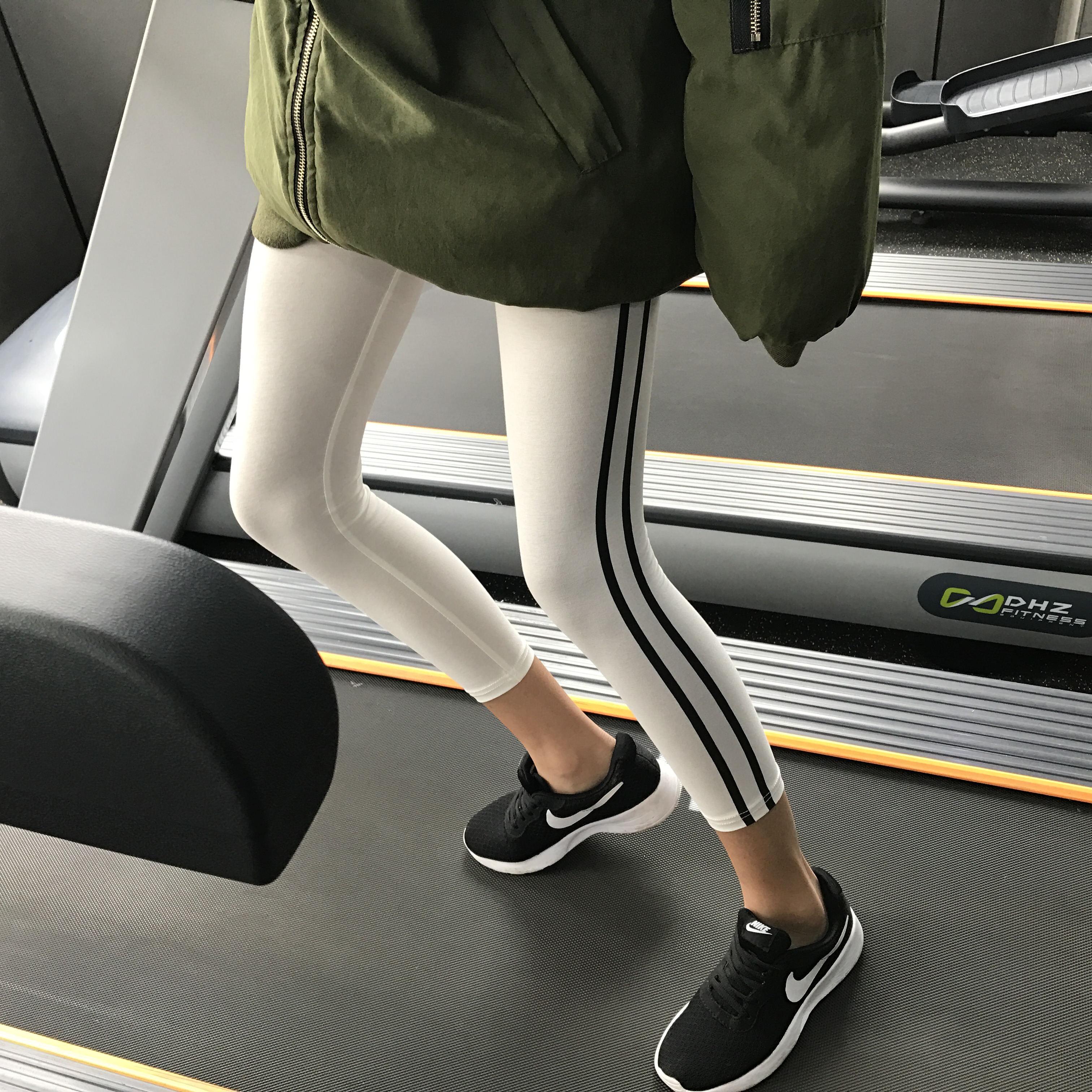 七分裤两条杠运动裤女显瘦条纹夏季薄款九分裤弹力外穿紧身打底裤限8000张券