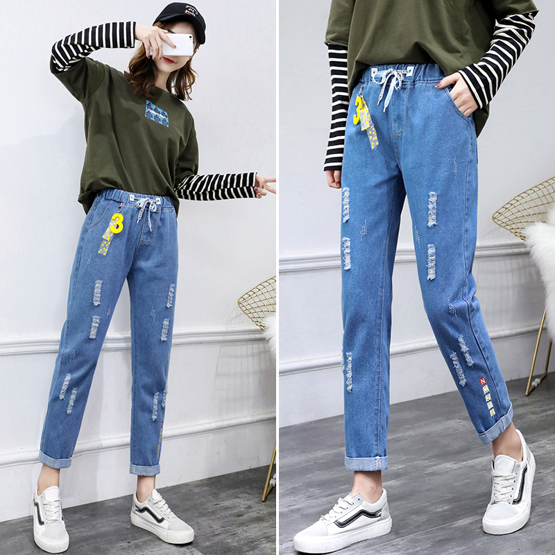 Special price summer autumn student Jeans Big childrens Capris 11-17 years old girl leisure junior high school high school girl