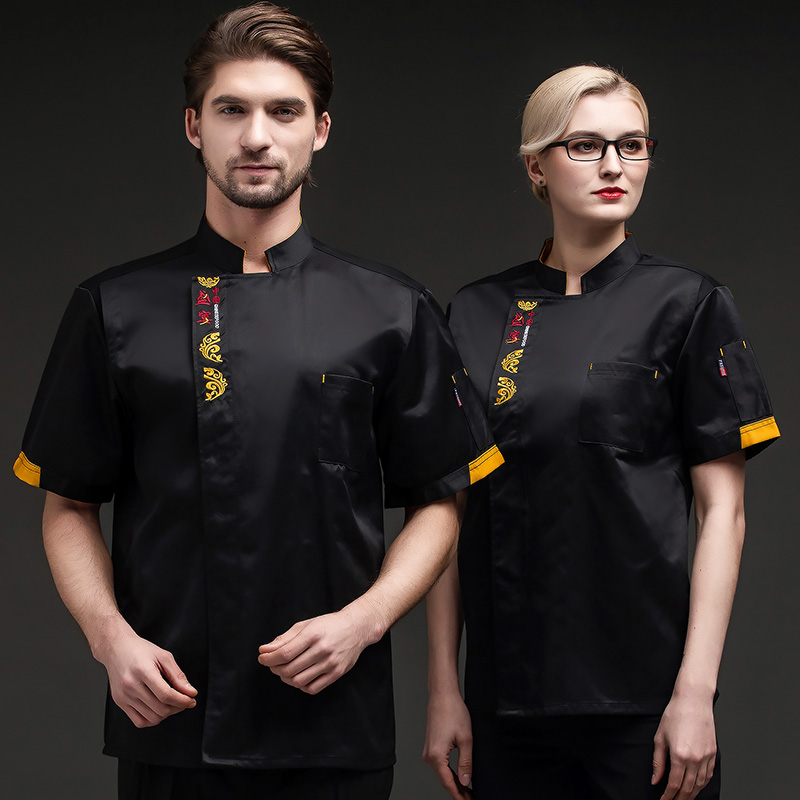 Hotel chefs work clothes summer short sleeve customized printed iron plate barbecue master uniform bread baking tooling