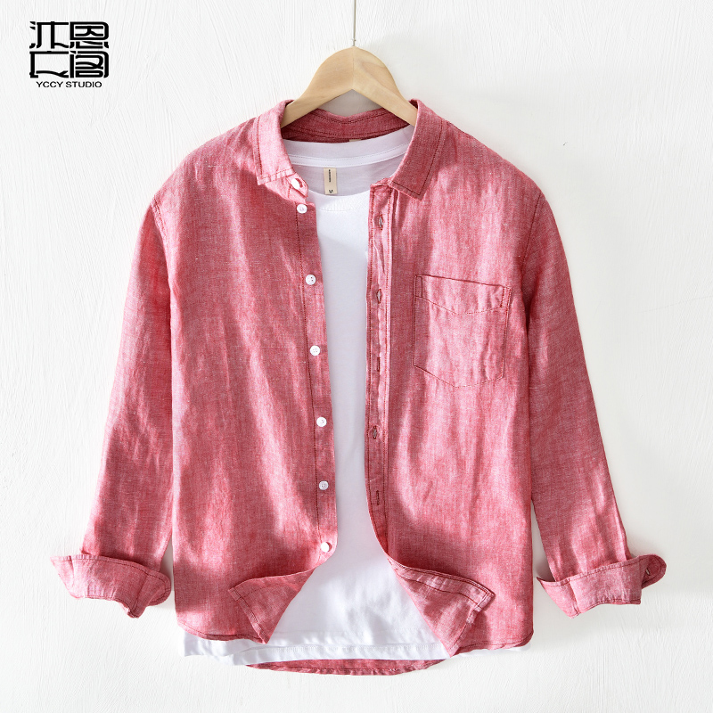2020 Korean Linen Shirt solid color long sleeve stand collar fashion urban casual mens soft loose thin top