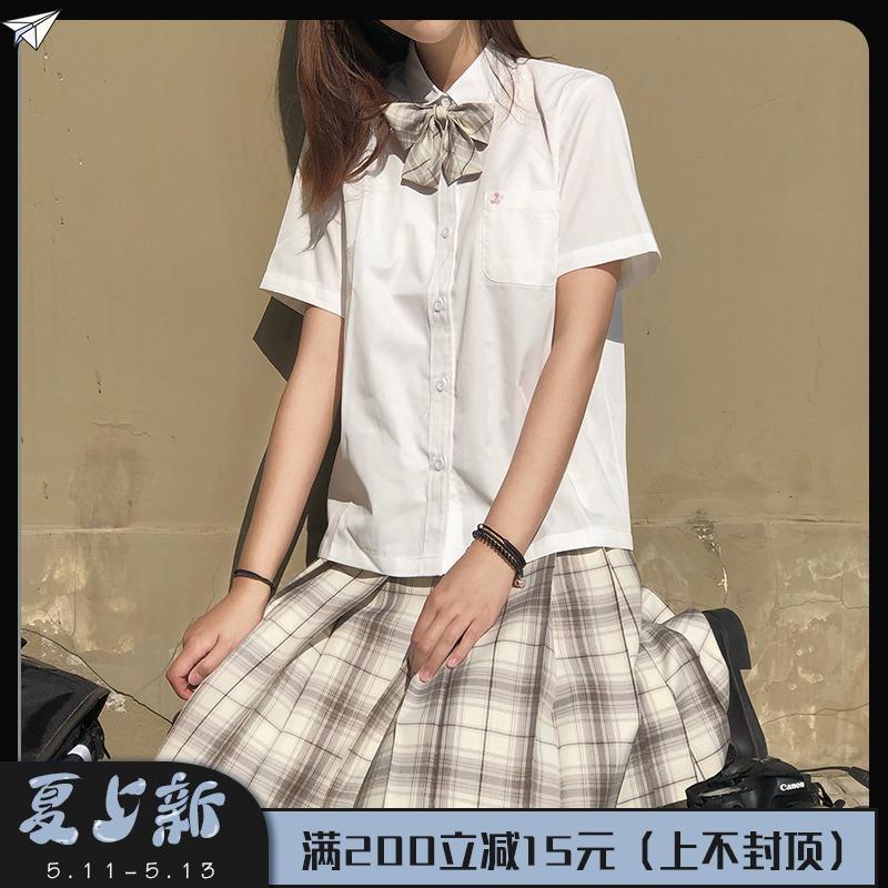 樱花家族白色JK衬衫 角襟领刺绣方领短袖 多色衬衫半袖女夏季